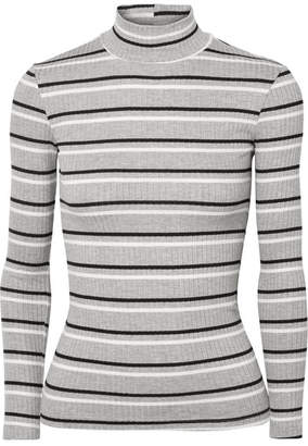 Frame Striped Ribbed-knit Turtleneck Sweater - Gray