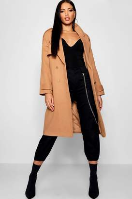 boohoo Belted Double Breasted Wool Look Trench