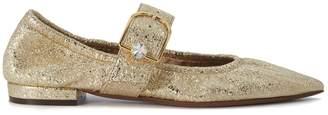 L'Autre Chose Gold Laminated Leather Flat Shoes