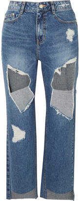 Sjyp Distressed High-rise Straight-leg Jeans - Mid denim