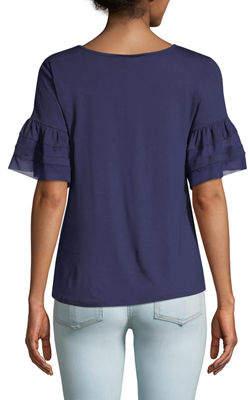 Neiman Marcus Mesh-Striped Flounce Sleeve Tee
