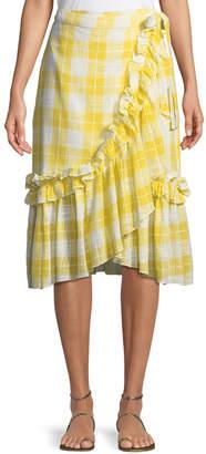 Red Carter Gingham Ruffled Wrap Skirt