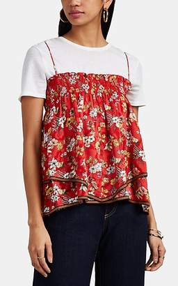 Derek Lam 10 Crosby Women's Smocked Floral Silk-Blend Jacquard Cami Top - Red