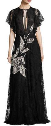 Sachin + Babi Aurora Floral Lace Gown, Jet