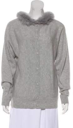 Magaschoni Fur-Trimmed Cashmere Cardigan