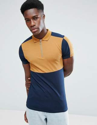 Asos Design Muscle Polo Shirt With Colour Block And Zip Neck