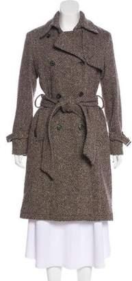RED Valentino Wool-Blend Herringbone Knee-Length Coat