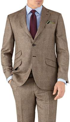 Tan Check Classic Fit British Serge Luxury Suit Wool Jacket Size 40 by Charles Tyrwhitt