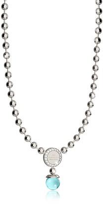 Rebecca Boulevard Stone Rhodium Over Bronze Necklace w/Hydrothermal Turquoise Stones