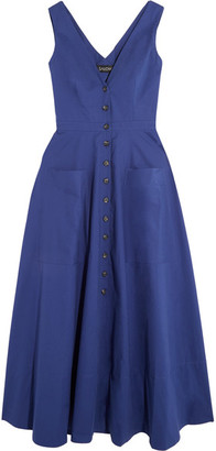 Saloni - Zoe Cutout Cotton-blend Dress - Bright blue $485 thestylecure.com