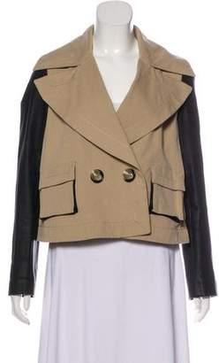 Rachel Zoe Leather-Trimmed Button-Up Jacket