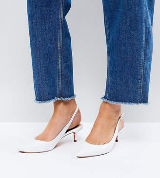 Dune Wide Fit Slingback Leather Kitten Heel
