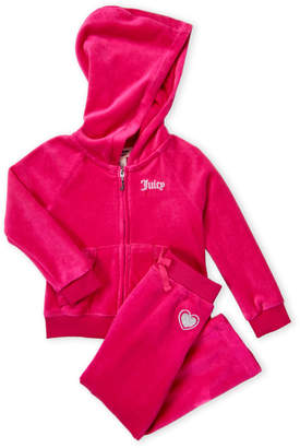 Juicy Couture Toddler Girls) Two-Piece Ruffle Trim Velour Hoodie & Pants Set