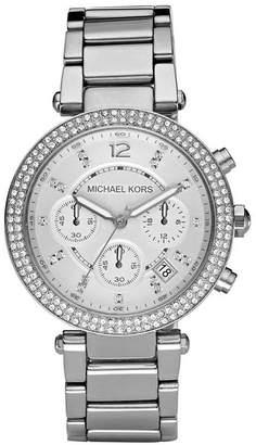 Michael Kors Silver Parker With Glitz Watch