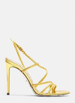 Gucci Braided Stiletto Sandals in Gold