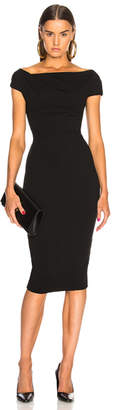 Victoria Beckham Shoulder Drape Fitted Midi Dress