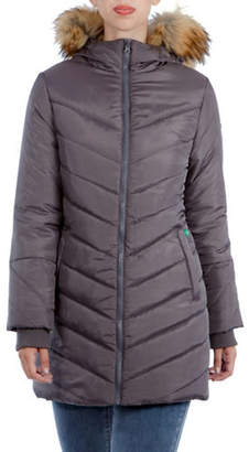 MODERN ETERNITY Maternity Lexie 3-in-1 Faux Fur-Accented Semi-Fitted Puffer Coat
