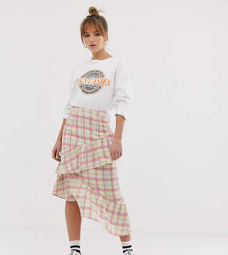Glamorous midi skirt with ruffle in grid check