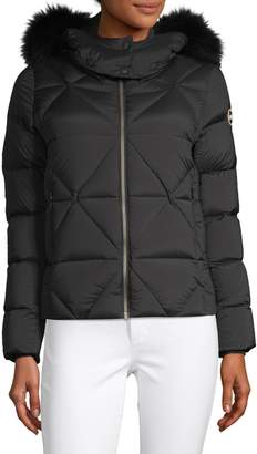 Colmar Hooded Short Fur Trim Down Jacket