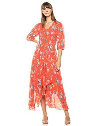 Calvin Klein Women's Three Quarter Sleeve Maxi Dress with Surplice Neckline