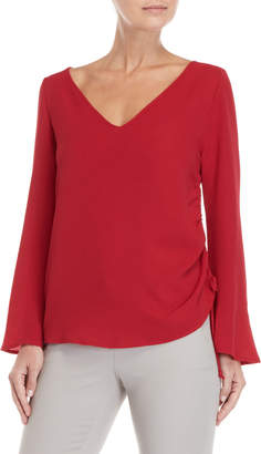 Chenault Deep Red Ruched Side Top