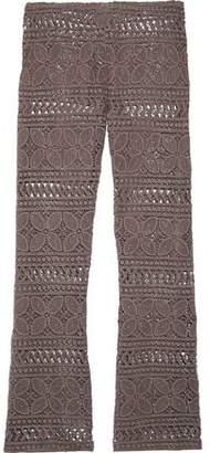 Eberjey Beach Comber Marley Crocheted Cotton Wide-Leg Pants