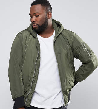 Asos PLUS Hooded Bomber Jacket With MA1 Pocket In Khaki