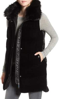 Sam Edelman Velvet Front Vest with Faux Fur Collar