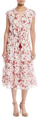 Rebecca Minkoff Sophie Cap-Sleeve Tiered Floral Midi Dress