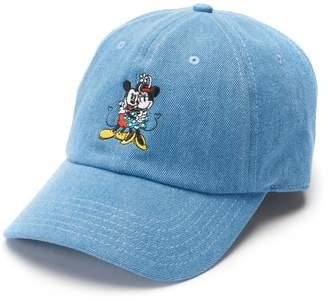 Disneys Mickey & Minnie Mouse 90th Anniversary Women's Embroidered Denim Baseball Cap