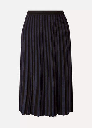 Diane von Furstenberg Klara Pleated Metallic Stretch-knit Midi Skirt - Black