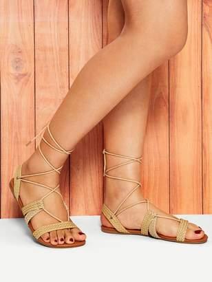 SheinShein Weave Detail Tie Leg Flat Sandals