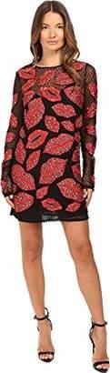 Just Cavalli Women's All Over Lips Long Sleeve Runway Dress