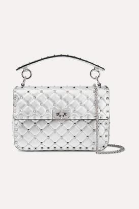 Valentino Garavani The Rockstud Spike Medium Quilted Metallic Leather Shoulder Bag - Silver