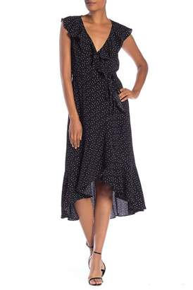 Max Studio Ruffle Wrap Midi Dress