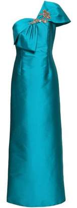 Sachin + Babi Ines Embellished One-shoulder Faille Gown