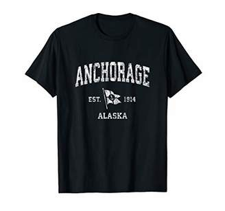 Anchorage AK Vintage Nautical Boat Anchor Flag Sports T-Shirt