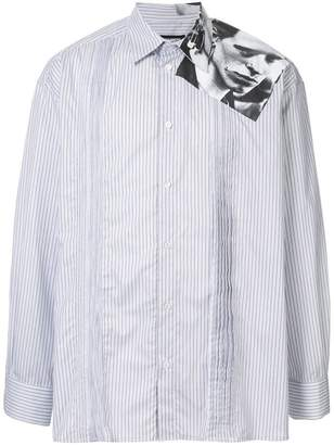Raf Simons pinstriped shirt with photo print on the shoulder