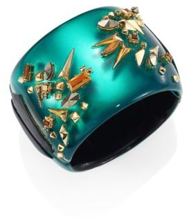 Alexis Bittar Golden Studded Lucite Hinge Cuff Bracelet $425 thestylecure.com