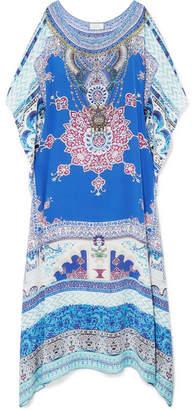 Camilla Embellished Printed Silk Crepe De Chine Kaftan - Blue