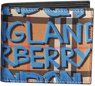 Burberry graffiti-print check billfold wallet