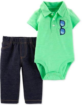 922aceebce Carter s Baby Boys 2-Pc. Polo Cotton Bodysuit   Denim Jeans Set