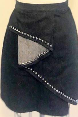 Tiny House Of Fashion Kiki Black Denim Stud Skirt