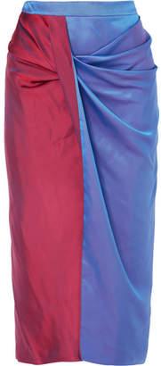 Sies Marjan - Libbie Draped Two-tone Iridescent Dégradé Satin-twill Midi Skirt - Blue