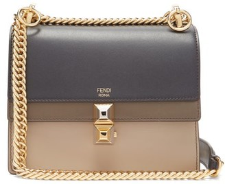 Fendi Kan I Stripe Small Leather Cross Body Bag - Womens - Navy Multi