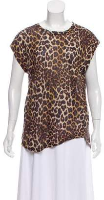 IRO Animal Print Short Sleeve Top