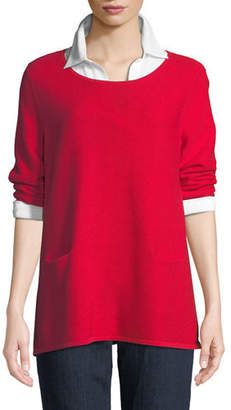Joan Vass Two-Pocket Cotton Sweater