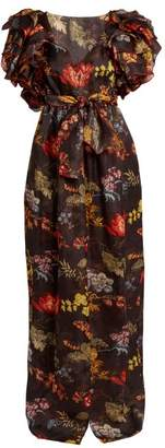Rosie Assoulin Ruffled Floral Print Organza Dress - Womens - Black Print