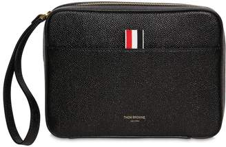 Thom Browne Leather Toiletry Bag W/ Strap