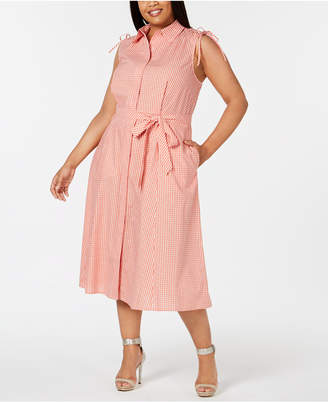 Calvin Klein Plus Size Gingham-Print Midi Shirt Dress